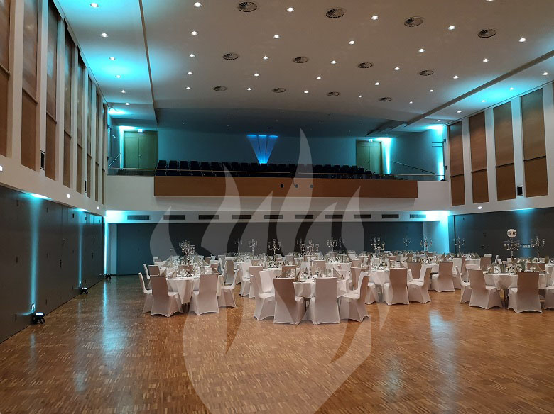 Veranstaltungstechnik, LED Spot, Ambientebeleuchtung, indirekte Beleuchtung, Stadthalle, Bad Hersfeld, Feier-Schmiede